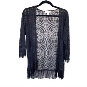 Band of Gypsies Black Lace Tassel Fringe Kimono